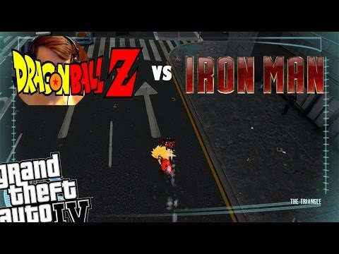 Gta Iv Iron Man Mod + Dragon Ball Z Goku Mod - Iron Man Battles Goku video
