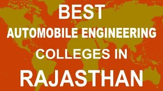 Best Automobile Engineering Colleges in Rajasthan