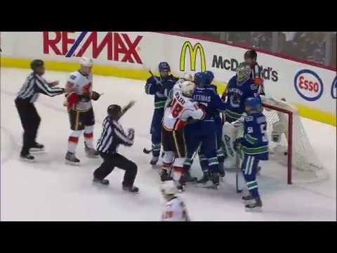 Calgary Flames & Vancouver Canucks Wild & Nasty Fight On April 17 2015 !!!!