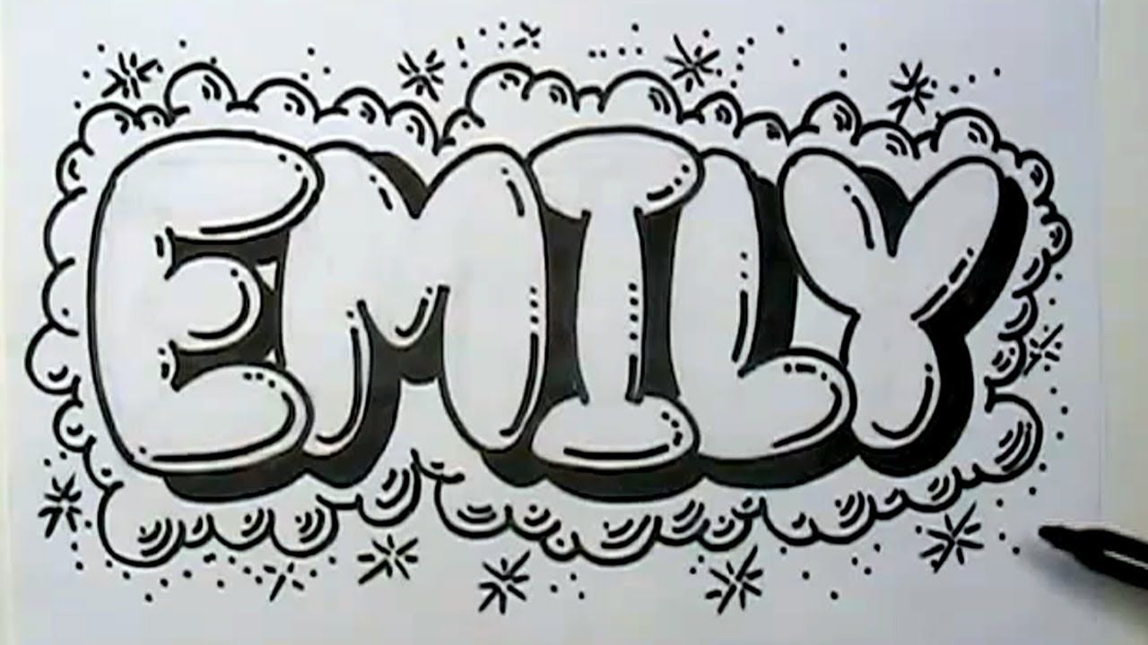 How to graffiti letters write emily in bubble