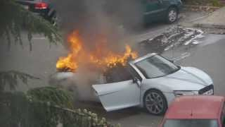 Audi R8 qui prend Feu pendant un mariage à LYON / AUDI R8 on fire in Lyon FRANCE /AUDI R8 BURN