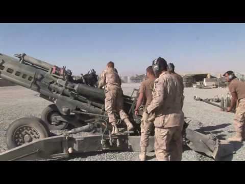 Canadian Forces artillery soldiers firing a Howitzer in Afghanistan.