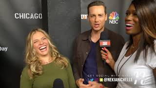 Jesse Lee Soffer & Tracy Spiridakos Joke With Nekia Nichelle On #OneChicagoDay Red Carpet