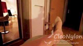 #83 foot play with tan pantyhose