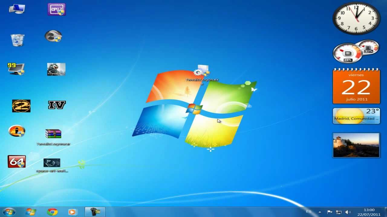Windows 7 personalizar pantalla de inicio cambiar imagen for Escritorio para computadora