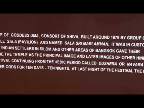 Major Hindu Temple on Silom Road in Bangkok, Thailand…..from the plaque in front….