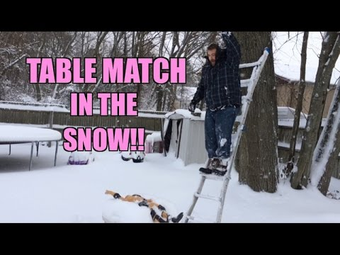 Backyard TABLE Match! 31 Inch The ROCK vs GRIM In the BLIZZARD of 2015...