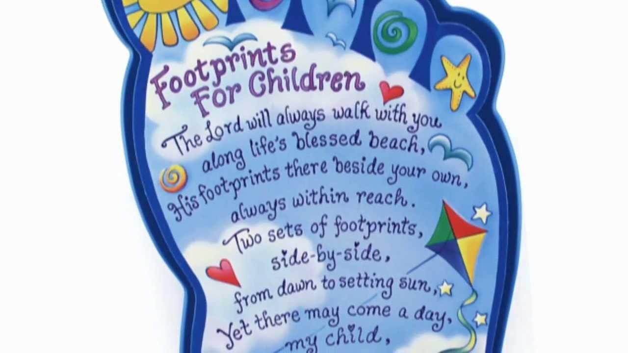 Footprints For Children Plaque Youtube