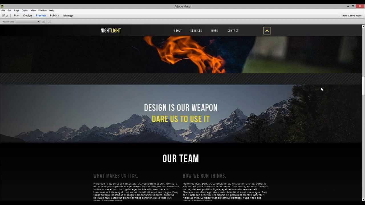 Adobe muse cc motion scroll parallax tips tricks Video websites