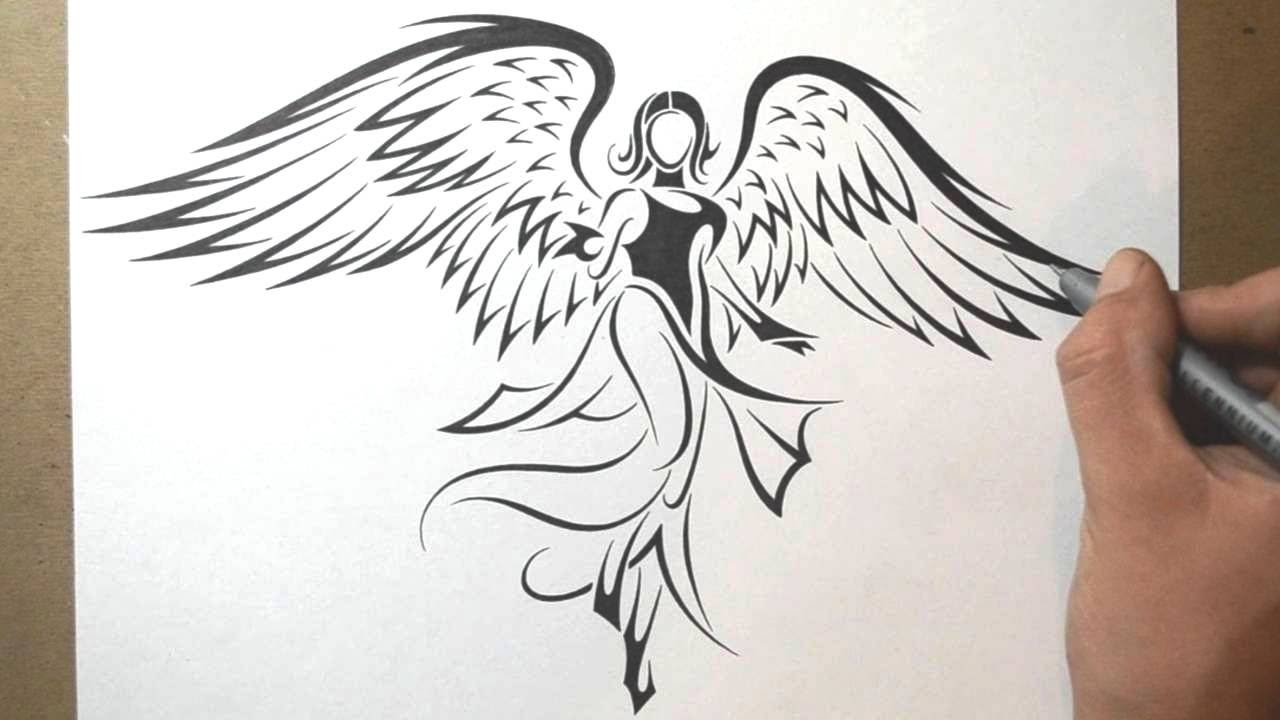 how to draw an angel tribal tattoo design style youtube. Black Bedroom Furniture Sets. Home Design Ideas