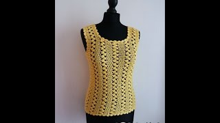 How to crochet easy yellow top pattern free tutorial para verano by marifu6a