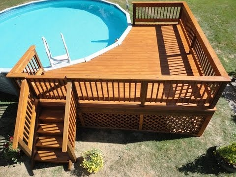 How to build a deck around a pool youtube for How to build above ground pool deck