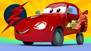 Jerry is the Flash from justice league - Tom the Tow Truck's Paint Shop - Car City ! Trucks Cartoons