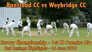 Banstead CC v Weybridge CC - 1st XI Surrey Championship Club Cricket Highlights 2018 - Part 2/2