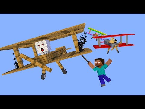 Monster School : Driving Airplane - Minecraft Animation