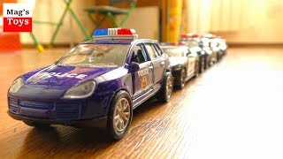 Police Cars Parade for kids | Toy Cars Driving in Line one after another