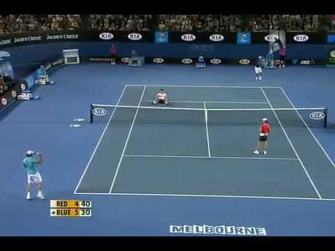 Hilarious point between Nadal,Federer and Djokovic Australian Open 2010 Hit for haiti