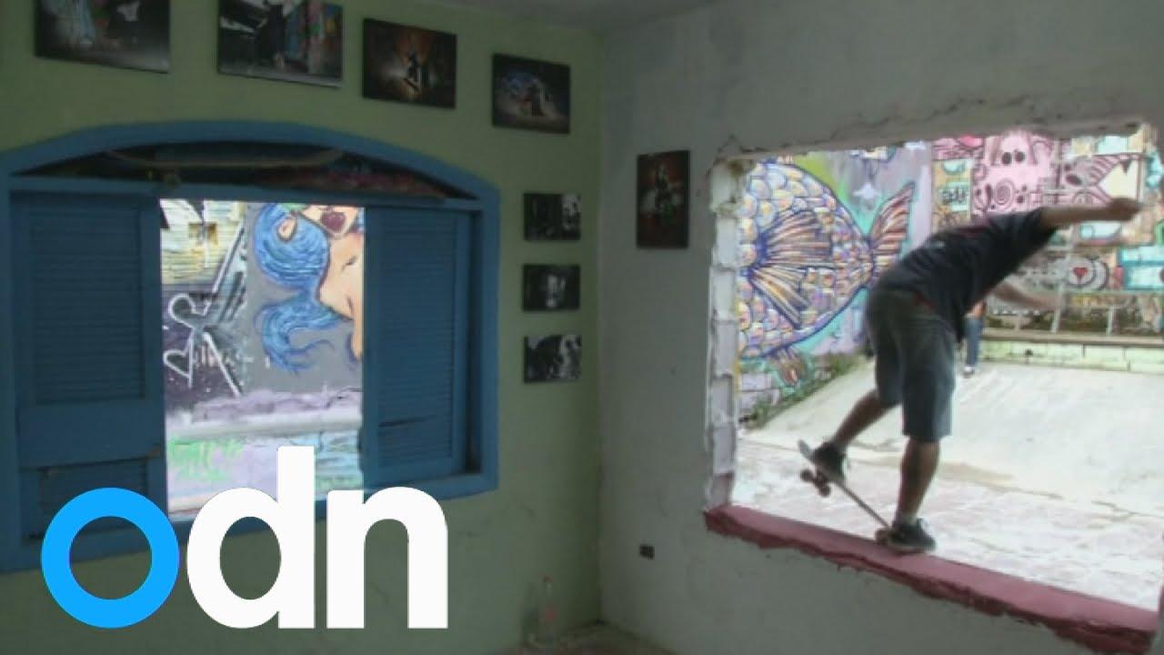 Orphan turns house into skate park in Brazil