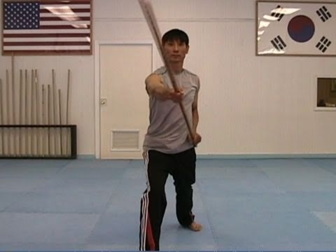 Taekwondo: Martial Arts Bo Staff Techniques #1: Diagonal Strike from the Top (taekwonwoo) Image 1