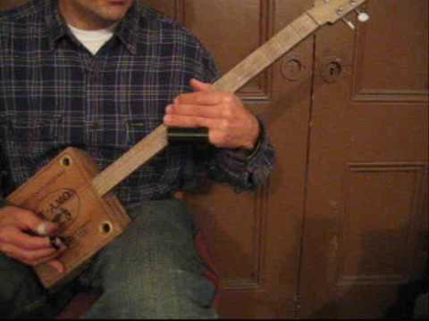 How to Play Cigar Box Guitar 4 String Lesson 1 Part A / For Sale CD 5 / Robert Johnson Bottleneck