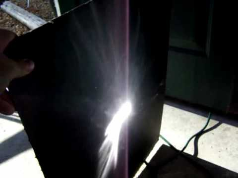 Free Energy. Focusing the Sun With a 24 inch  Parabolic dish With Mirror Chrome Tape