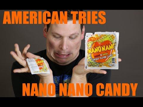 American Tries Indonesian Candy NANO NANO
