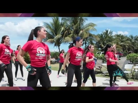 Young women of Miss Santiago, Dominican Republic Fitness segment. Inland beach.