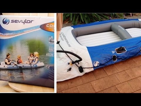 Sevylor colossus 4 person inflatable boat unbox for Fishing license for disabled person