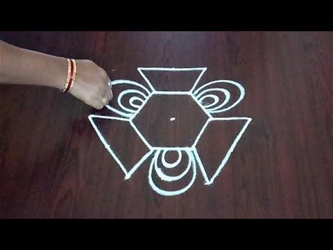 Simple Dots Rangoli 5 x 3 || Easy Dotted Kolam || Quick Muggulu || Fashion World & Rangoli