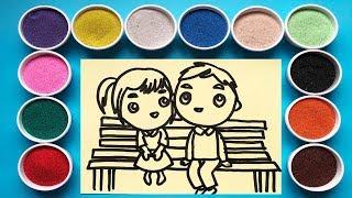 Tô màu tranh cát công chúa hoàng tử - Learn colors with sand painting toys (Chim Xinh)