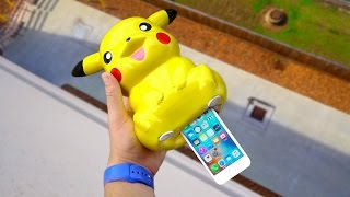 Can iPhone SE Survive a 100 FT Drop Shoved up a Pikachu