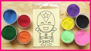 Đồ chơi trẻ em TÔ MÀU TRANH CÁT SIÊU ANH HÙNG CAPTAIN AMERICA, Colored Sand painting (Chim Xinh)