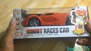 Mở hộp đồ chơi xe ô tô biến hình robot - Super robot race cars - đồ chơi mới nhất 2018