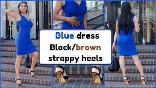 Crossdresser - blue dress and high heeled stiletto sandals | NatCrys