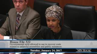 Rep. Ilhan Omar on HF322 at Civil Law Committee - Jan. 24, 2017