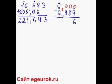Сложение и вычитание десятичных дробей, чисел