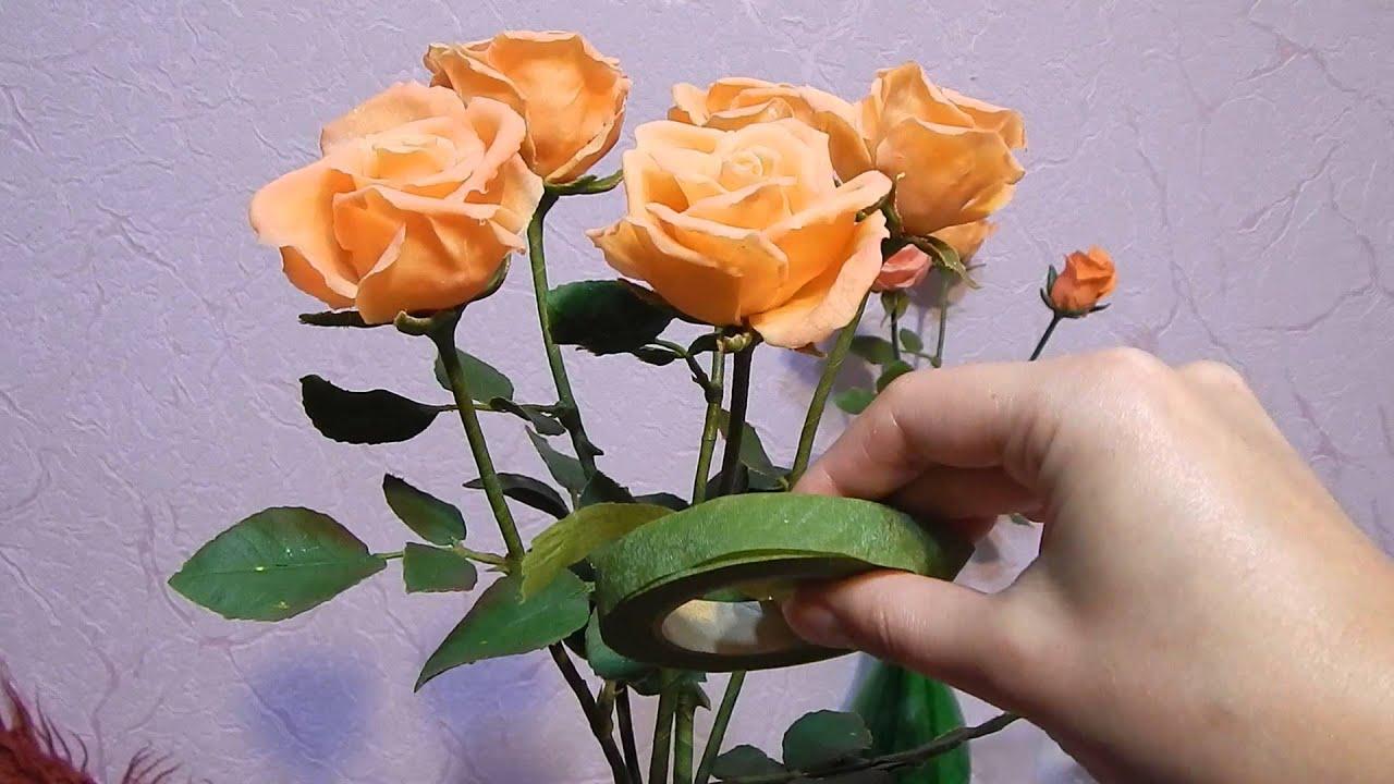 Розы цветы из холодного фарфора мастер класс