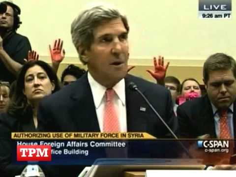 Kerry Testifies As Protesters Raise 'bloody Hands' Behind Him video