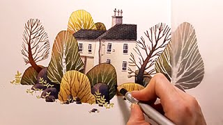 "Watercolor Illustration ""House with garden"" with colored pencils speed painting by Iraville"
