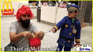 Kid Police Little Heroes Who Stole my Lunch | Kids drive to MacDonald's for a Happy Meal