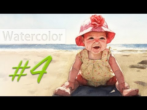 Portrait of a baby girl - watercolor painting step by step #4