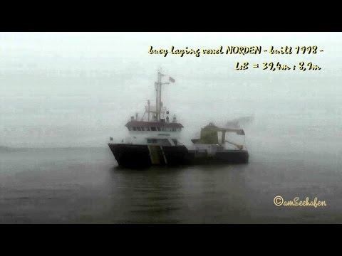 Tonnenleger NORDEN DBDG MMSI  211265910 Emden buoy laying vessel in fog im Nebel