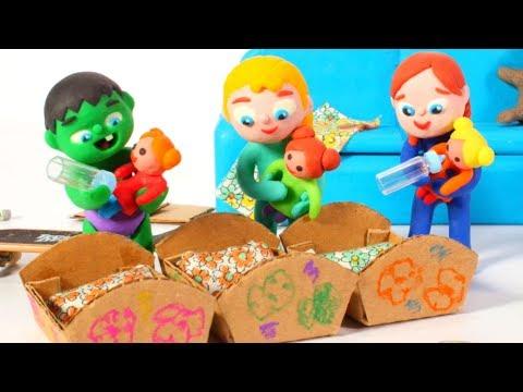 SUPERHERO BABIES MAKE LITTLE BEDS ❤ Superhero Babies Play Doh Cartoons For Kids