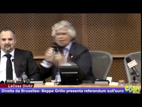 Integrale: Beppe Grillo in diretta da Bruxelles presenta il referendum sull'euro