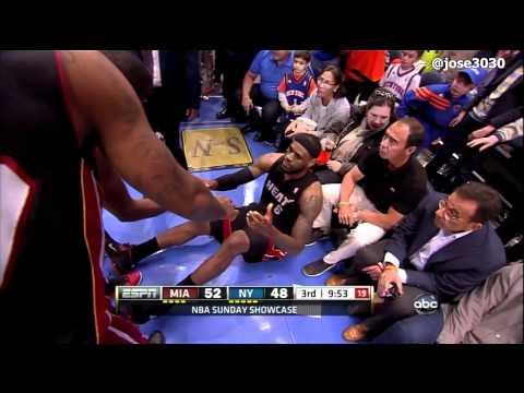 LeBron James Steps On Fan, Tweaks Ankle - Heat @ Knicks 4/15/2012