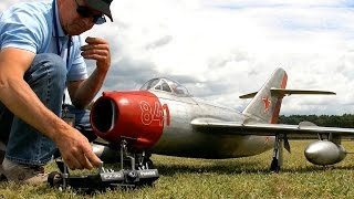 GIANT RC MIG-15 AMAZING DETAIL SCALE MODEL TURBINE JET DEMO FLIGHT / Damelang Germany 2016