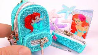 DIY Miniature Ariel School Supplies ~ Little Mermaid Backpack, Liquid Pen, Pencil Case
