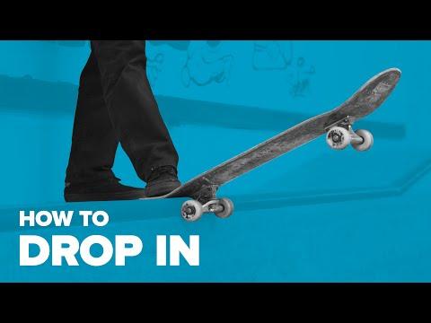Как съехать с рампы на скейте. Трюки на скейте для начинающих. How to Drop in on skateboard.