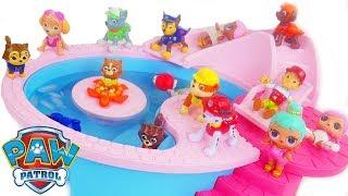 paw patrol at barbie sized pool