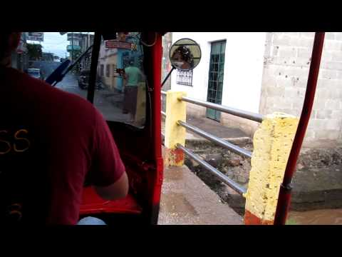 Riding the Tuk Tuk (a.k.a. taxi) in Asuncion Mita, Guatemala